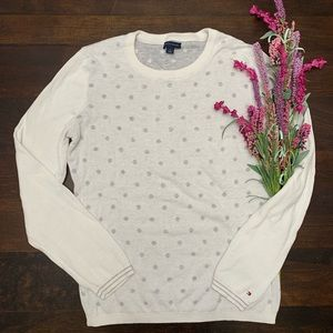 Tommy Hilfiger White and Grey Polka-dot Sweater M